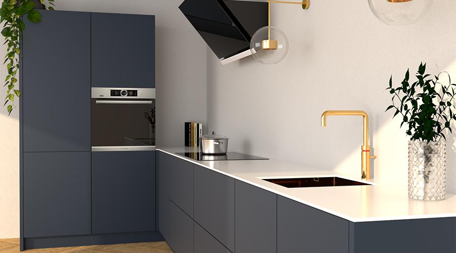 Mat Blauwe Keuken Met Wit Blad Nove Keukens Groningen